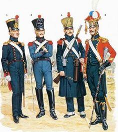 Tenente dell'artiglieria a piedi, conduttore del 1 rgt. del treno di artiglieria, cannoniere dell'artiglieria a piedi e tamburo maggiore dell'artiglieria a piedi