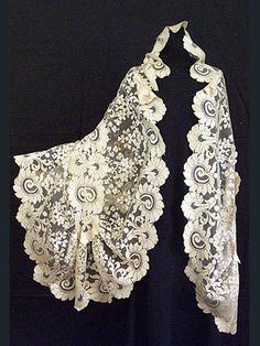 Antique, handmade lace silk shawl