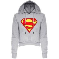 Stylish Long Sleeve Hooded Color Block Women's Superman Fleece Cropped Hoodie #shoes, #jewelry, #women, #men, #hats, #watches