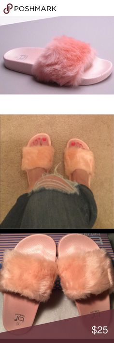"""🆕Pink Faux Fur Slides """"Pretty in Pink"""" I am reposhing these beautiful slides. I am so sad that they do not fit me. I bought these brand new from an awesome posh seller using some of her photos. I will be taking more photos of the shoes I am selling. They are still new I just tried them on. They will come with the box. I hope to find a home for some lucky person. These will work for size 9 1/2 to 10. If you are like me and wear some size 10's and some 11's these will not work for you. They…"""