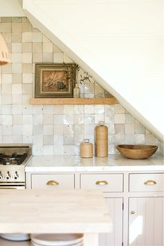 Gorgeous neutral timeless kitchen with putty colored cabinets and Zellige backsplash tile - Bodega House. #kitchendesign #puttycabinets #timelesskitchen #zellige #mushroom Kitchen Interior, New Kitchen, Kitchen Dining, Minimal Kitchen, Kitchen Furniture, Wood Furniture, Olive Kitchen, Family Kitchen, Kitchen Tables