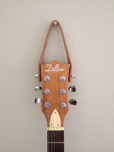 Guitar Hanger, Leather by LeatherDecor on Etsy Hang Guitar On Wall, Ukulele Wall Mount, Guitar Wall Hanger, Guitar Hooks, Guitar Storage, Guitar Display, Guitar Stand, Cigar Box Guitar, Guitar Crafts
