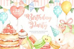 Ad: Birthday Party Watercolor Cliparts by everysunsun on The set of high quality hand painted watercolor Birthday party elements. A Bunny, cake, cupcake, balloons and other birthday elements are Birthday Snacks, Tea Party Birthday, Art Birthday, Happy Birthday, Watercolor Cake, Watercolor Plants, Watercolor And Ink, Carnival Invitations, Birthday Invitations