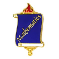"School Pin - Mathematics. 7/8H x 1/2""W. Purple color filled scroll, Gold Plated. $3.95"