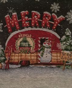 Christmas Snowman Kringle Tree Delivery Retro Camper Table Runner #Windham