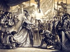 Queen Elisabeth knighting Drake on Board of the Golden Hind.