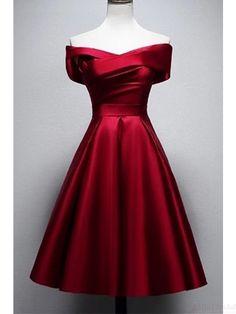 Vintage Burgundy Knee Length Satin Homecoming Dresses (ED2523) Cheap Graduation Dresses, A Line Prom Dresses, Satin Dresses, Evening Dresses, Graduation Gowns, Short Red Prom Dresses, Pretty Dresses, Beautiful Dresses, Knee Length Dresses