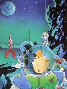 Hommage à Hergé - Lune // Tintin was the first going to the moon!
