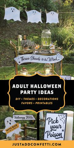 """Planning an adult Halloween party? You have to check out this unique and fun """"Three Sheets to the Wind"""" Halloween party theme and DIY ideas. The printable ghost decorations and party favors are so cute! See more at justaddconfetti.com and find all of the printables for this idea in my Just Add Confetti Etsy shop."""