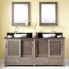 """72""""+Arrey+Teak+Double+Vanity+for+Semi-Recessed+Sink+-+Gray+Wash"""