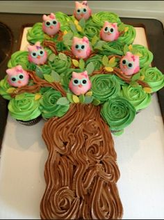 Cupcakes cake and owl cake pops | the sweetest thing ♡