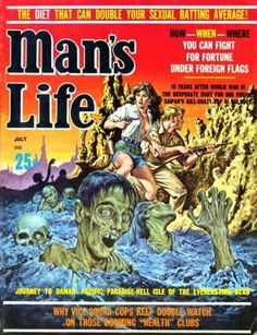 """Horror-esque cover for Man's Life - """"The diet that can double your sexual batting average!"""""""