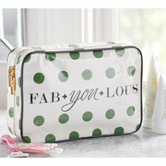 Pottery Barn Fab-You-Lous Print Ultimate Cosmetic Bag ($55) ❤ liked on Polyvore featuring beauty products, beauty accessories, bags & cases, travel wash bag, travel make up bag, travel toiletry kit, toiletry bag and makeup purse