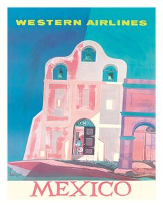 Mexico * Western Airlines travel poster (1959)