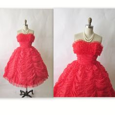 50's Prom Dress //  Vintage 1950's Strapless Red Chiffon Valentine's Day Cocktail Party Prom Dress XS