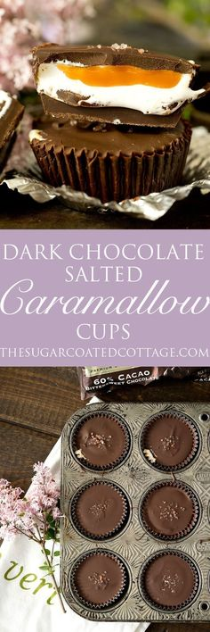 Dark Chocolate Salted Caramallow Cups - The Sugar Coated Cottage Candy Recipes, Sweet Recipes, Baking Recipes, Dessert Recipes, Cupcake Recipes, Chocolate Truffles, Melting Chocolate, Chocolate Desserts, Just Desserts