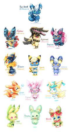 Meowstic Variations by Evil-usagi on DeviantArt - Pokemon Pokemon Mix, Pokemon Fusion Art, Pokemon Eevee, Pokemon Fan Art, Photo Pokémon, Pikachu, Pokemon Breeds, Images Kawaii, Eevee Evolutions
