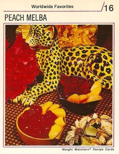 Peach Melba. The cherry-like objects are diet soda mixed with Jell-O. Ignore the ceramic cheetah. (Weight Watchers, 1970s)
