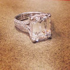 This engagement ring is nearly perfect. I think it's an asscher cut diamond which is my favorite
