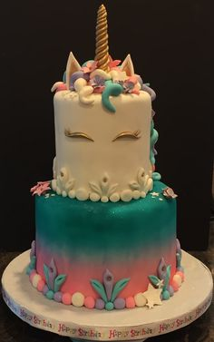 Unicorn cake I made. All fondant with handmade gum paste flowers.
