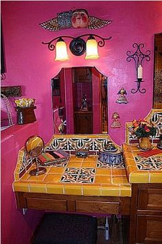 Small Vanity Showing Mexican Tile, Mexican Home Decor Gallery. Mission Accesories, Copper Sinks, Mirrors, Tables And More [ MexicanConnexionForTile.com ] #Hacienda #kitchen #Talavera #handmade