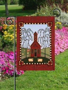 """Primitive Schoolhouse Americana Mini Flag by Custom Décor, Inc.. Save 78 Off!. $3.00. Garden Flag Outdoor Décor. 100% Polyester - Fade & Mold Resistant. Flag Measures Approximately 12"""" x 18"""". Permanently Dyed with a Vivid Color Process. Bright Beautiful Artwork. ###########################################################################################################################################################################################################################..."""