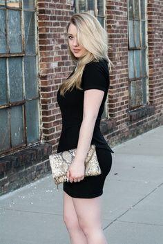 Caroline Margaret Studio | Nashville Style Blog, BCBG Black dress, tuxedo dress, Elaine Turner Clutch