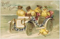 Easter Postcard with Chicks driving Limousine, 1908