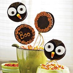 Easy Owl-Ween Treats | Open-faced Oreos, M & M's, candy corn, and sprinkles bring a MoonPie to life.