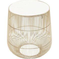 Kare Design Bijzettafel Beam Wit Marmer Brass 35 x 32 x 32 White Side Tables, Modern Side Table, Kare Design, Marble Top, White Marble, White Beams, Filigree Design, New Home Gifts, Modern Industrial