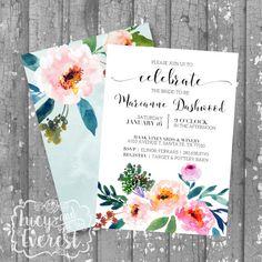 Garden Peonies Bridal Shower Invitation, Shower Invite, Wedding Shower…