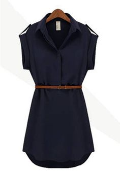 Navy Plain Turndown Collar Belt Loose Chiffon Dress