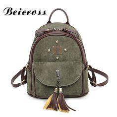 ad02e74e284c 2017 New Design Retro Corduroy Female Fringed Backpack Small Leisure Travel  Bag LY1737  Affiliate Luggage