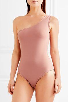 Marysia - Santa Barbara Maillot One-shoulder Scalloped Swimsuit - Antique rose - x small