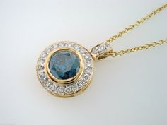 Fancy Blue Diamond Solitaire Pendant Necklace 14k Yellow Gold 0.93 Carat handmade Halo Pave circle