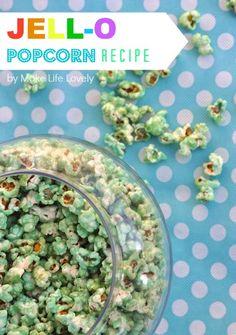 Recipe to make coloured popcorn. Could do bright colours for 'popcorn coral'. Jello Popcorn, Flavored Popcorn, Popcorn Recipes, Dessert Recipes, Desserts, Fun Recipes, Recipe Ideas, Ariel Party Food, Colored Popcorn