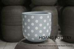 Cute Polka Dots actually have the power to attract customers 😉 - Hand-Painted Cement Pots with adorable patterns 🌸🌷🌻 Enjoy your weekend! 🌞 #hoangpottery #vietnampottery #vietnam #pottery #polkadots #adorable #cutepot #cute #handpainted #handpaintedpot #handpaintedplanter #cement #cementpot