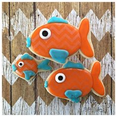 Doodlebug cookies. Fish and cupcake toppers