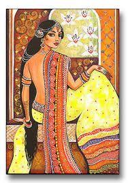 Indian Art Goddess Art Traditional Indian Painting by evitaworks India Painting, Woman Painting, Arte Krishna, Bd Art, Indian Illustration, Goddess Art, Indian Goddess, Indian Artwork, Spiritual Paintings