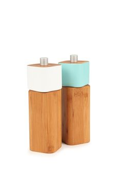 salt & pepper mill set, LIGHT BLUE & WHITE