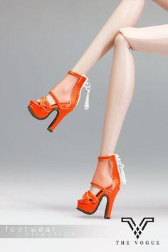 B1008-07 The Vogue Orange Designer Leather Lace Fashion High Heels Shoes for Barbie Fashion Royalty FR2 Poppy Parker Silkstone