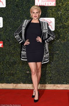 Red carpet beauty: Ashley Roberts looked stunning in a Balmain for H&M beaded jacket and m...