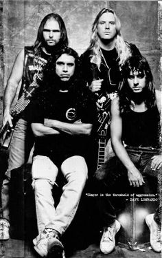EARLY SLAYER BAND PICTURE. KERRY KING, JEFF HANNEMAN, TOM ARAYA and DAVE LOMBARDO  HEAVY METAL T-SHIRTS and METALHEAD COMMUNITY BLOG. The World's No:1 Online Heavy Metal T-Shirt Store & Metal Music Blog. Check out our Metalhead Clothing and Apparel Store, Satanic Fashion and Black Metal T-Shirt Stores; https://heavymetaltshirts.net/