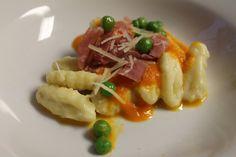 Potato Gnocchi, Peas, Proscuitto,  Tomato Puree featured at Venetian Wine Dinner 8-15-14