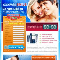 Buy teeth whitening risk free trial lead capture landing page design template for sale for your business conversion