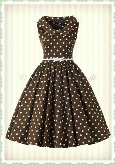 d51d55cf193 Hearts   Roses 50er Jahre Punkte Petticoat Kleid - Ravishing - Braun