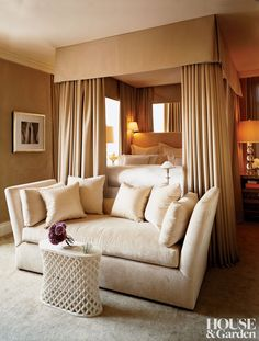 The master bedroom in Manhattan home has a hand-carved marble table. The drape curtains are satin, and the daybed is custom made ~ Robert Passal design. Bedroom Sofa, Dream Bedroom, Home Bedroom, Bedroom Decor, Master Bedroom, Bedroom Ideas, Headboard Ideas, Bed Drapes, Canopy Beds