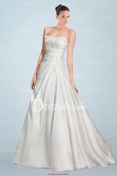 Delicate Strapless Sweetheart Satin A-line Bridal Dress with Beaded Applique and Pleats