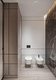 Magnificent Modern Marble Interior With Metallic Accents - Home Accents living room Marble Interior, Bathroom Interior, Modern Bathroom, Small Bathroom, Wood Bathroom, Washroom, Interior Doors, Modern White Living Room, Living Room Accents