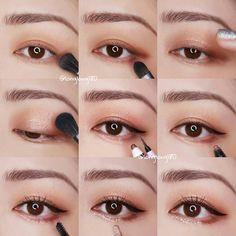 Beautiful korean makeup Eye Make Up Korean Makeup Tips, Asian Eye Makeup, Korean Makeup Tutorials, Simple Eye Makeup, Ulzzang Makeup Tutorial, Clean Makeup, Korean Beauty, Natural Makeup, Asian Make Up